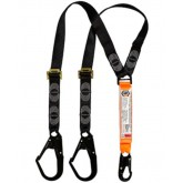 Double Leg Shock Absorbing Adjustable Lanyard with 1 x Snap Hook and 2 x Double Action Scaff Hooks
