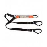 Double Leg Elasticated Webbing Lanyard with 1 x Screw Gate Karabiner and 2 x Double Action Scaff Hooks