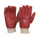 Single Dipped Red PVC Gloves with Knitted Wrist